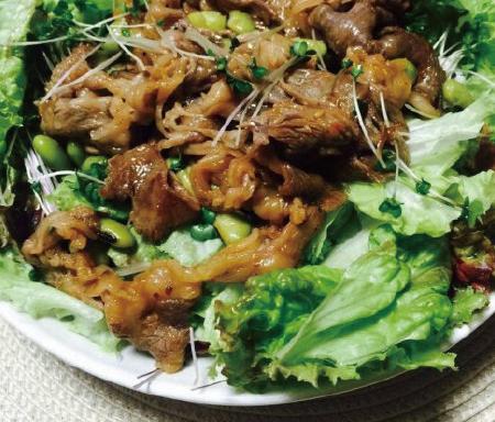 牛肉サラダの青大豆